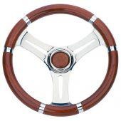 Τιμόνι με Inox Ακτίνες & Λαβές Ξύλου 03547