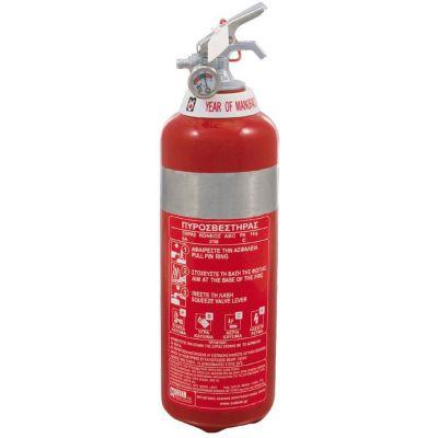Πυροσβεστήρας 1Kg, ξηράς σκόνης ABC 40%, δοχείο ανοξείδωτο και με κλείστρο ανοξείδωτο.