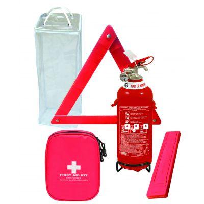 Σετ Πυροσβεστήρας 1Kg ΣΚΟΝΗΣ ABC 85% - Τρίγωνο απλό - Φαρμακείο απλό